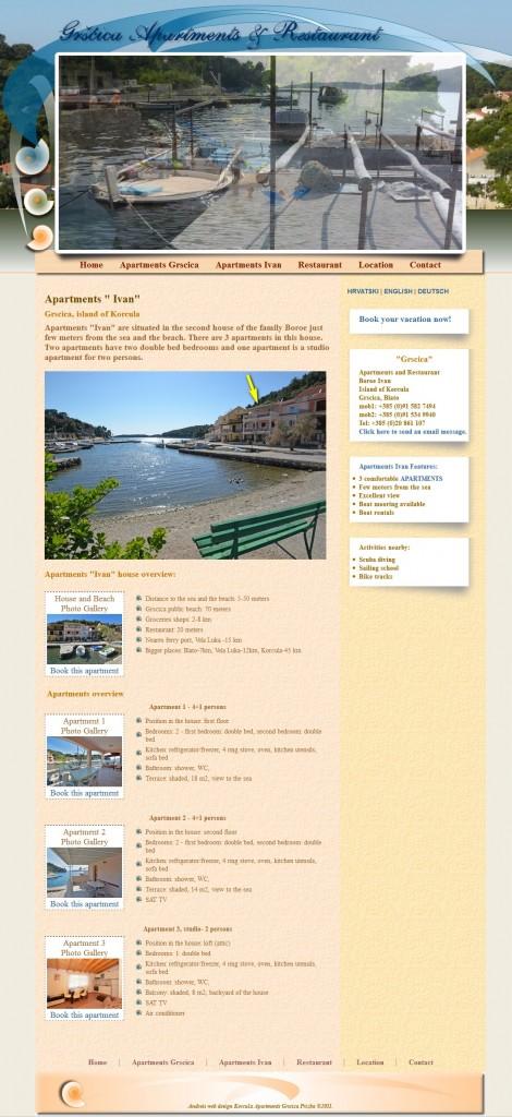 Web stranice apartmana Gršćica - otok Korčula