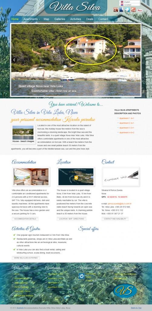 Izrada web stranica - Vila Silva - Vela Luka, Nova