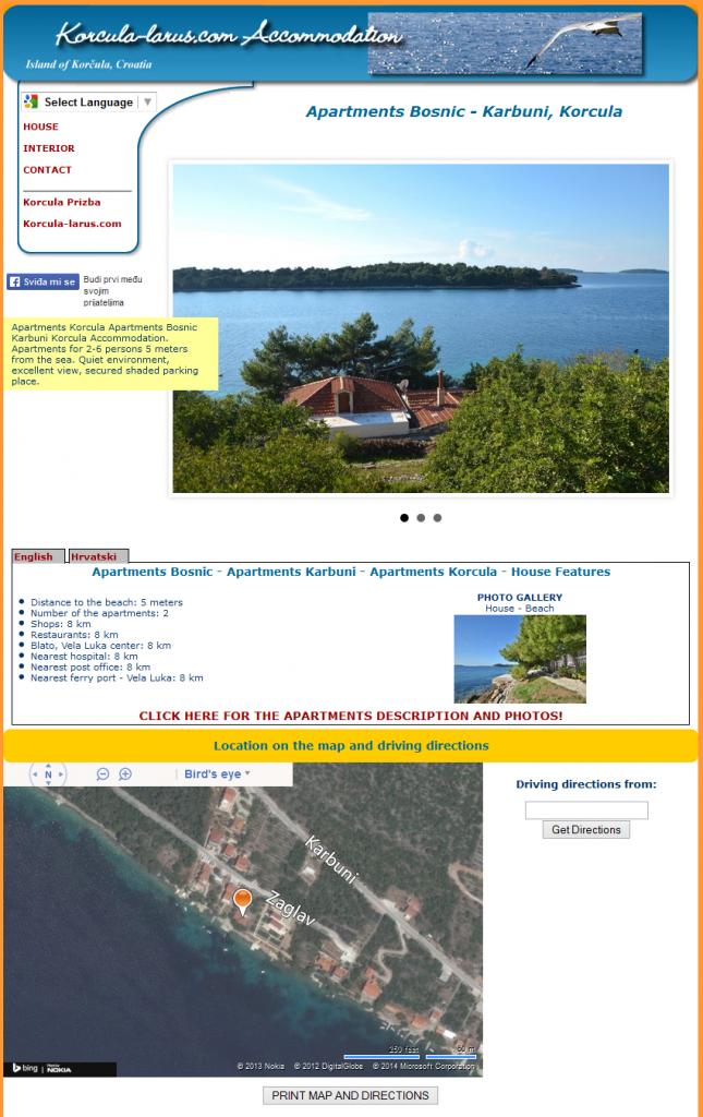 Izrada web stranica apartmani Bosnić Karbuni