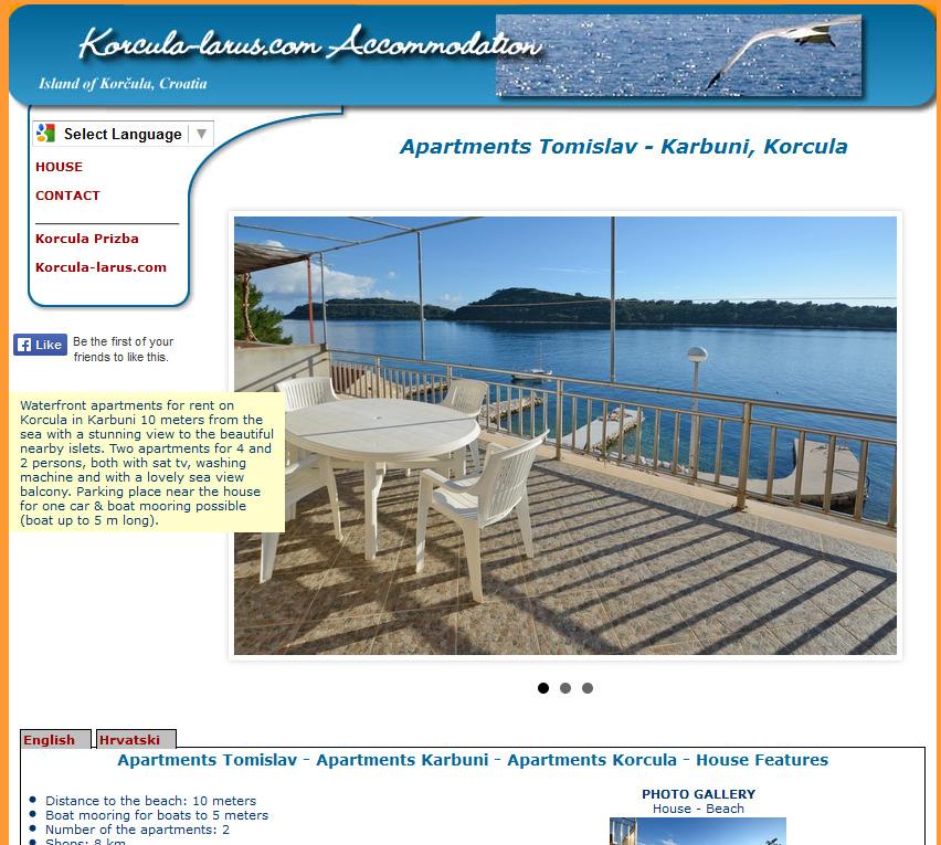 Izrada web stranica za apartmane Tomislav u Karbunima